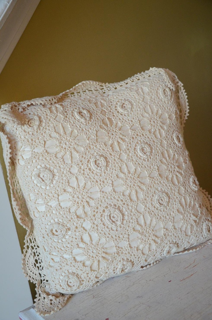 Cream Antique Cottage Shabby Chic Lace Pillow with gorgeous details. $28.99, via Etsy.