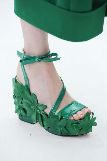 The 50 Best Shoes at NY Fashion Week | StyleCaster DELPOZO: These emerald green, patent leather platforms were showstoppers on the runway at Delpozo.  Read more: http://stylecaster.com/the-50-best-shoes-new-york-fashion-week-spring-2015/#ixzz3DAct6Ais