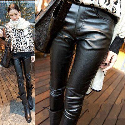 Autumn Maternity Legging in Black PU Winter Skinny Pencil Belly Pants Plus Velvet Warm Clothes for Pregnant Women