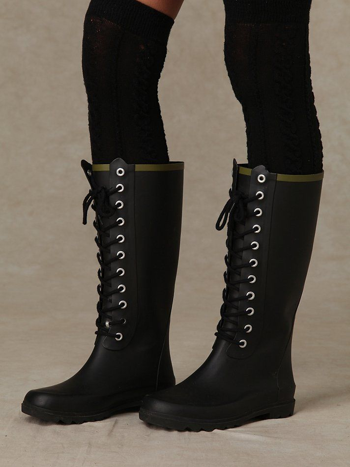 Noir Lace Up Weather Boots Rubber Boot With Lace Up