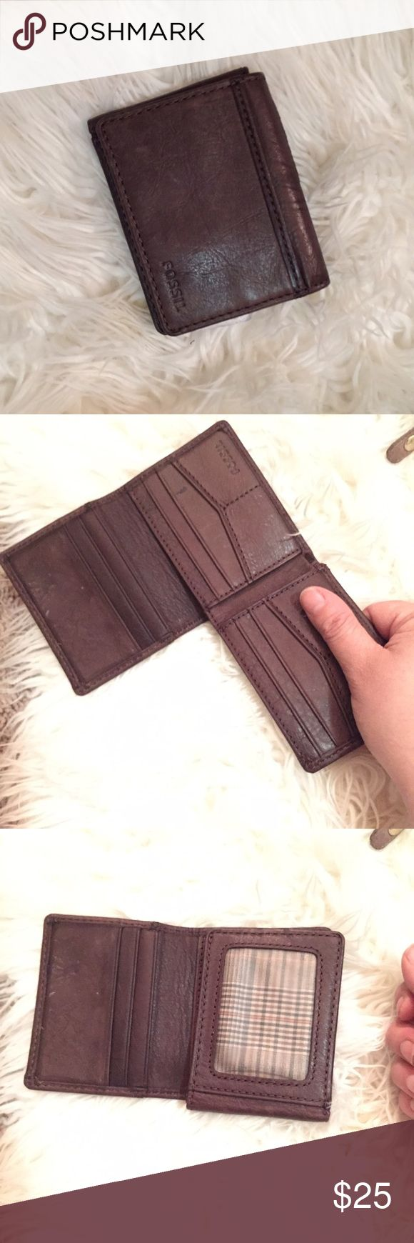 Men's Brown Leather Fossil Wallet NWOT Fossil Bags Wallets