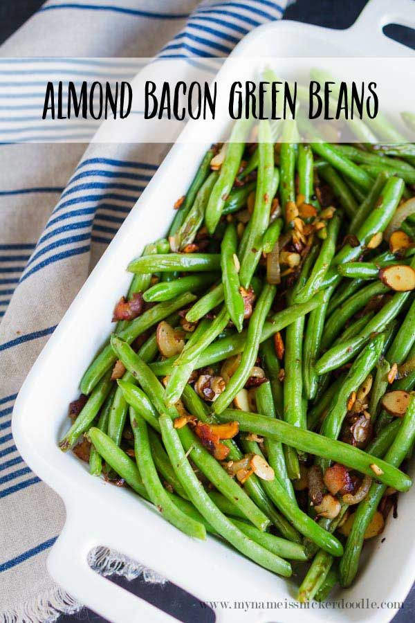 Almond Bacon Green Beans are a great side dish to most any meal. It's full of great flavor that will be a hit with your family.