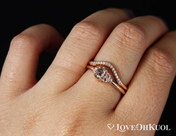 Rose Gold Pink Diamond Cluster Ring & Curved Diamond Wedding