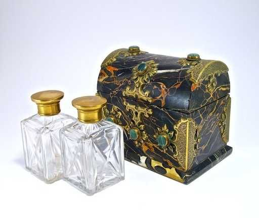 Lot: c1850 Palais Royal scent casket with key, carved marble, Lot Number: 0024, Starting Bid: $750, Auctioneer: Perfume Bottles Auction, Auction: Perfume Bottles Auction, Date: May 4th, 2013 CEST