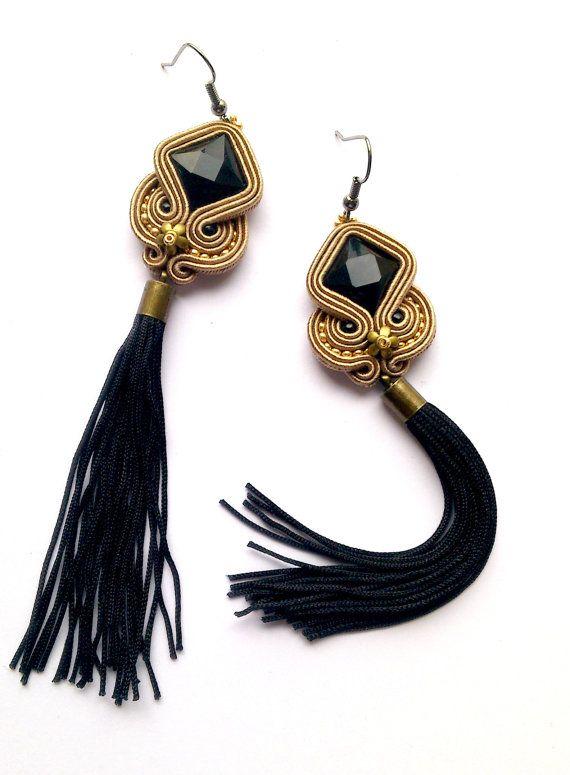 Black tassel earrings golden tassel golden earrings by anatydesign