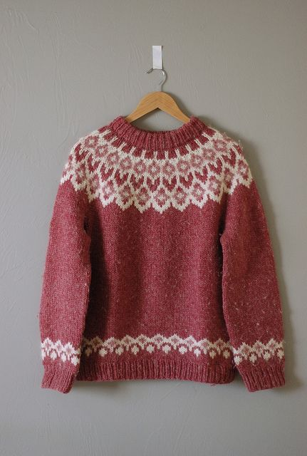 red sweater with colorwork yoke in monochromatic palette