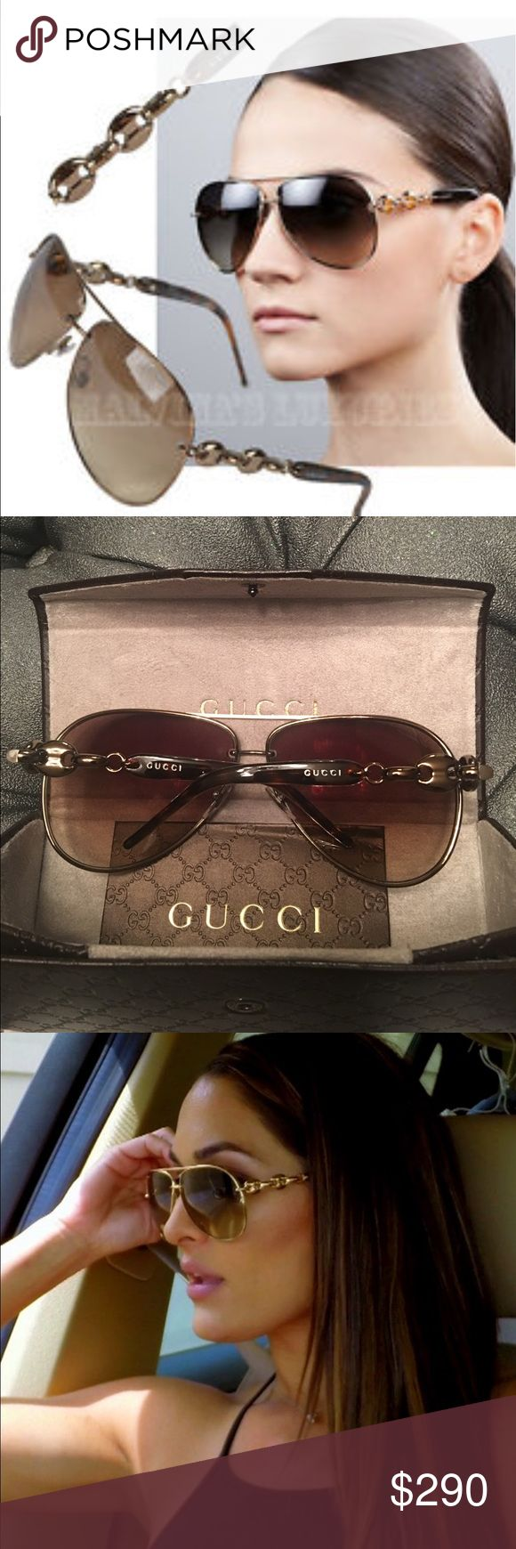 Gucci Sunglasses Gucci Aviator with Bridge. Dark brown copper with signature Gucci locks on arms. Gucci inscribed on lens GG 4225/S 63. Made in Italy. Nose silicone pads. Brown Tortoise tips. Stunning and classy piece. Delivered with case and cloth. Gucci Accessories Sunglasses