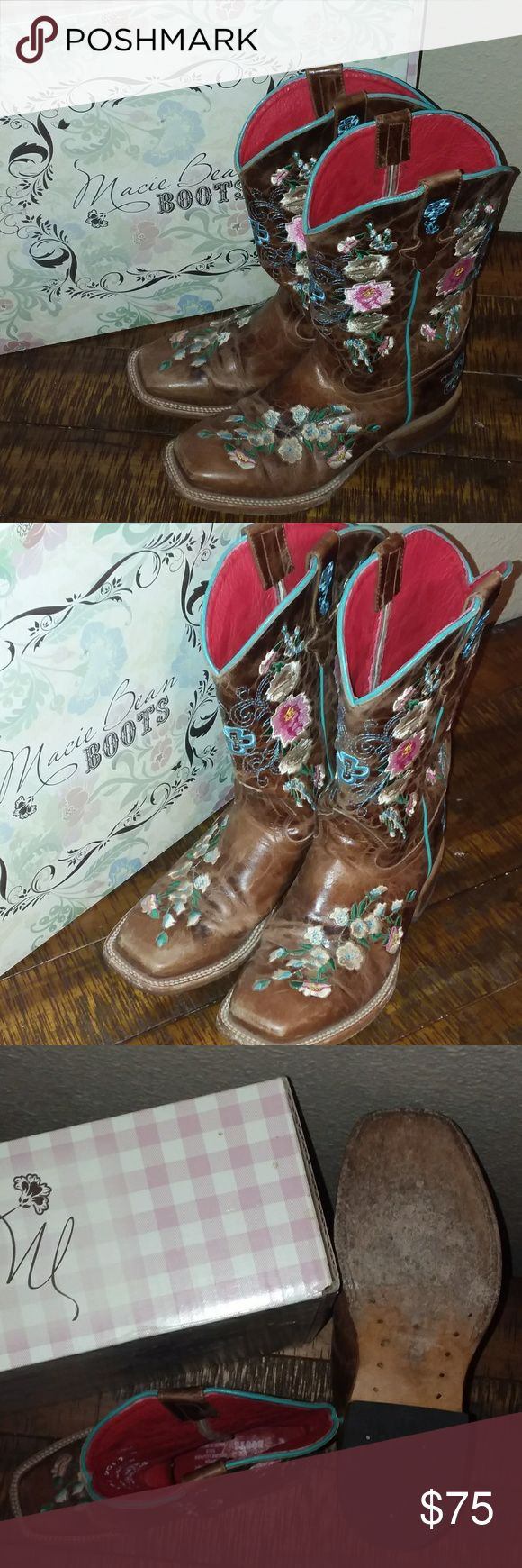 Macie Bean Girl's Boots Size 3 Macie Bean girls square toe boots size 3. Foral design and honey brown in color. Only worn a handful of times. Price is $75 OBO. Paid $129. Macie Bean Shoes