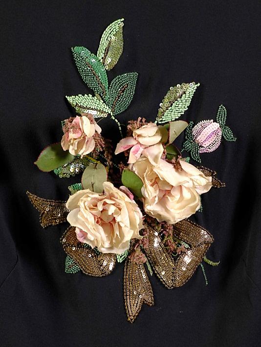 (Detail) from an evening blouse. House of Schiaparelli (French, 1928–1954). Elsa Schiaparelli (Italian, 1890–1973). 1938 : Silk, beads, sequins, artificial flowers.
