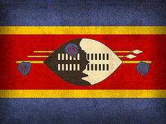 Swaziland Flag Art - Swaziland Flag Vintage Distressed Finish by Design Turnpike