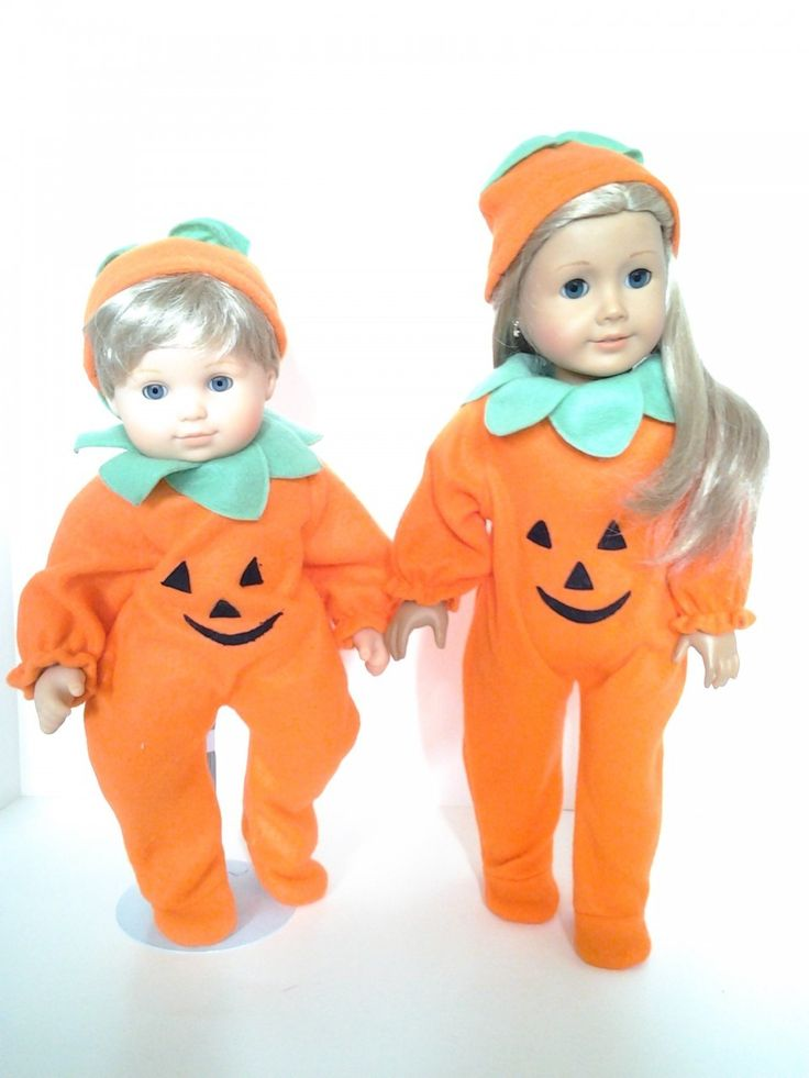 DollsHobbiesNmore - PUMPKIN OUTFIT FOR AMERICAN GIRL DOLLS AND BITTY TWINS, $10.00 (http://www.dollshobbiesnmore.net/american-girl-dolls/halloween-dress-up/pumpkin-outfit-for-american-girl-dolls-and-bitty-twins/)