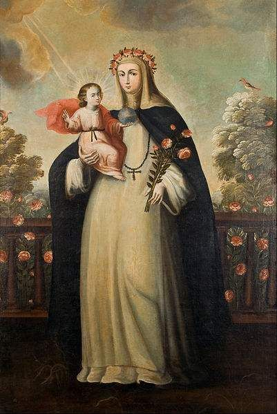 Painting of Saint Rose of Lima with Child Jesus by Cusco School.