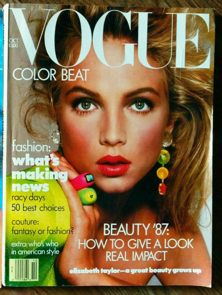 **VOGUE October 1987 Fashion Magazine Rachel Williams VintageColor Beat Beauty*