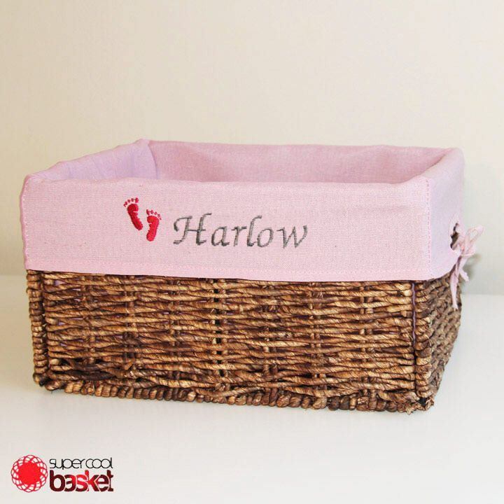 Excited to share the latest addition to my #etsy shop: Free Shipping- Personalized Storage With Embroidered Liner, Foldable Wicker Basket,Nursery, Baby shower Gift Basket