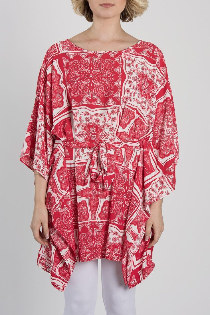 Red and white printed tunic with dolman sleeves and waist tie for a flattering fit. Looks great with white pants and wedges! This light and summery tunic can be dressed up or down! Model is wearing a size small. Red Printed Tunic by My Beloved. Clothing - Tops - Tunics California
