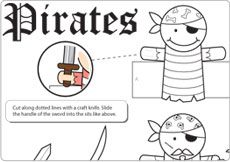 free printable pirate finger puppets for pirate party...now that's a tongue twister!