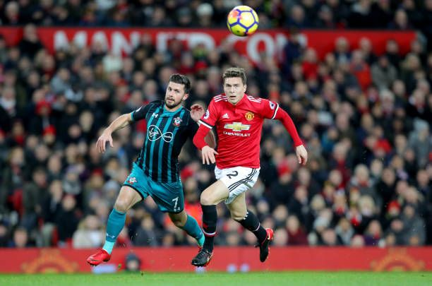 Southampton S Shane Long And Victor Lindelof Of Manchester United During The Premier League Match Between M Manchester United Manchester Premier League Matches