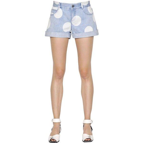 Stella Mccartney Women Polka Dot Printed Stretch Denim Shorts (413 AUD) ❤ liked on Polyvore featuring shorts, light blue, stella mccartney shorts, dotted shorts, polka dot shorts, light blue shorts and cuffed shorts