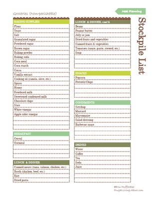 I used the monthly meal planning worksheet, but there are tons more helpful printouts!