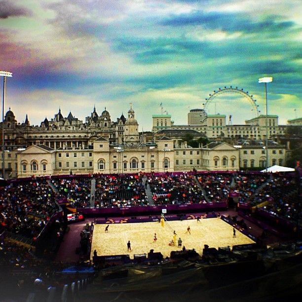 #Poland plays #SouthAfrica in men's beach #volleyball at the horse guards parade. Photo by Laura Heald/SI #london2012