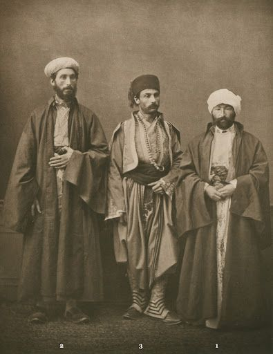 1873 photogravure. (1) Muslim teacher (hoca) of Salonica; (2) chief Rabbi of Salonica; (3) bourgeois from Monastir (Bitola). from the province of Salonica, Ottoman Empire Pascal Sabah Ottoman Empire bestpicturesof
