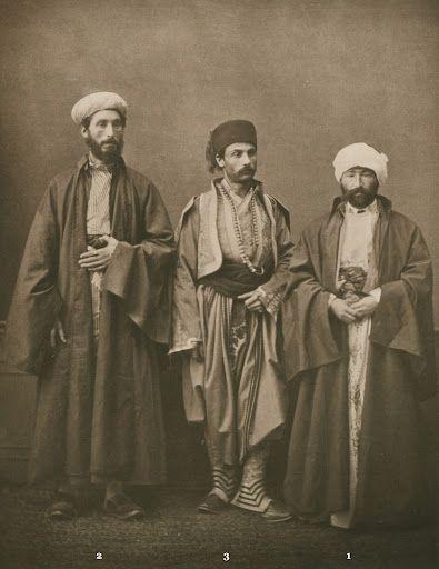 1873 photogravure. (1) Muslim teacher (hoca) of Salonica; (2) chief Rabbi of Salonica; (3) bourgeois from Monastir (Bitola). from the province of Salonica, Ottoman Empire Pascal Sabah Ottoman Empire bestpicturesof