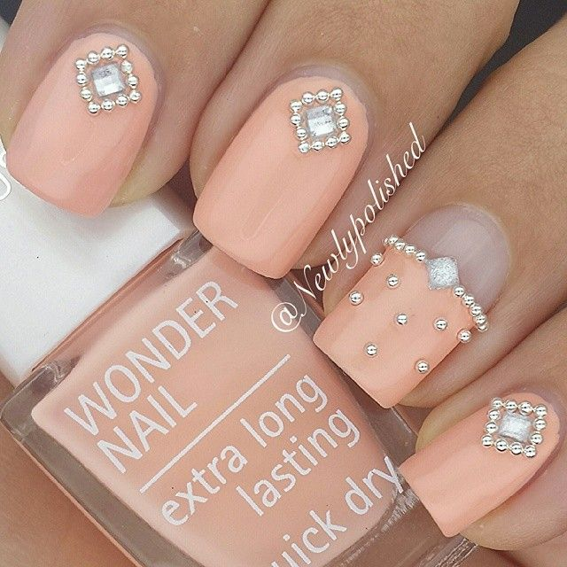 Peach Nails With Pearl & Crystal Details