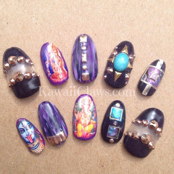 31 best moyou nail stamping images on pinterest nail polish hindu god goddess gel nails falsefake nail 3d by kawaiiclaws prinsesfo Choice Image