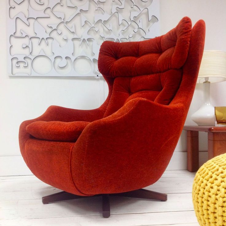 Rare Parker Knoll Statesman Chair Mid Century Swivel Lounge Chair Burnt Orange