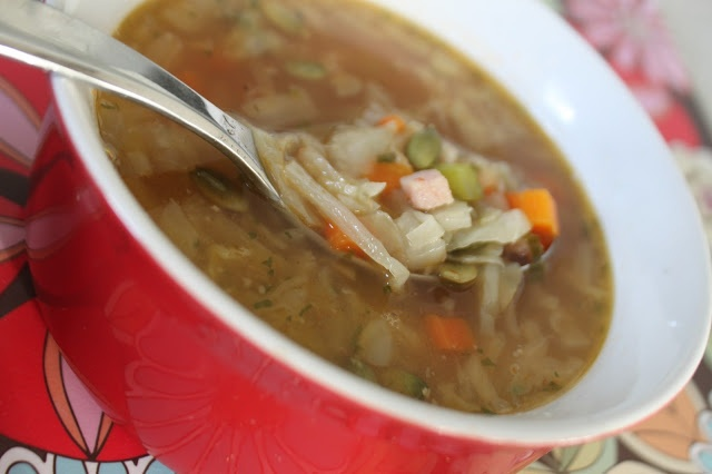 Wheat-free, Low-carb, Paleo Ham and Cabbage Soup