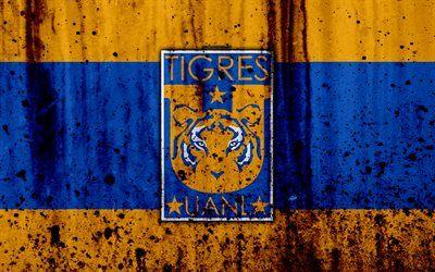 Descargar fondos de pantalla Tigres UANL, 4k, grunge, textura de piedra, logotipo, emblema, de la Primera División Mexicana, en el club de fútbol Monterrey, México libre. Imágenes fondos de descarga gratuita
