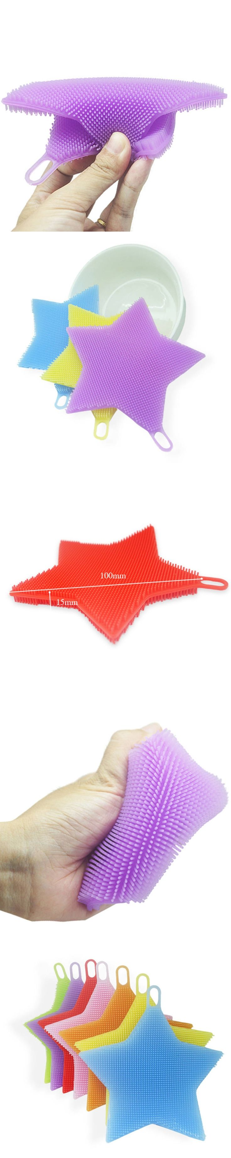 DoreenBeads Household Cleaning Brush Food Grade Silicone Cleaning Appliance Star Pattern For Bowl Dish Random Color 1PC