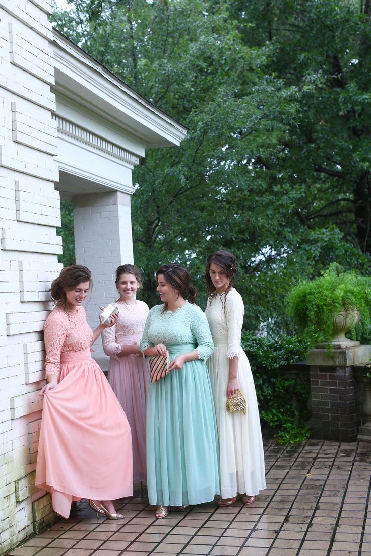 Modest pastel chiffon and lace bridesmaid dresses for weddings. www.daintyjewells.com