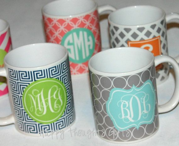 Monogrammed Coffee Mug - Personalized - Coffee Cup with background wrap design - custom mug on Etsy, $18.00