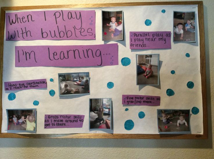 Even infants get into the learning at Sunshine House 175 in Colorado Springs, CO. This simple display helps families connect learning standards with a baby's play.