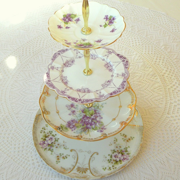 Alice in Violet, Large Purple 4 Tier Cupcake Stand of Vintage China w/Gold for Mini Wedding Cakes, Cookies, Dessert Display or Birthday. $235.00, via Etsy.