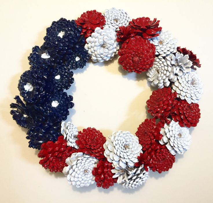 Zinnias Pinecone , Red, White, and Blue, Door Wreath, Painted Pinecones, Rustic Decor, Country Home Decor, Seasonal Wreaths, Gifts for Mom by SouthernEscentuals on Etsy
