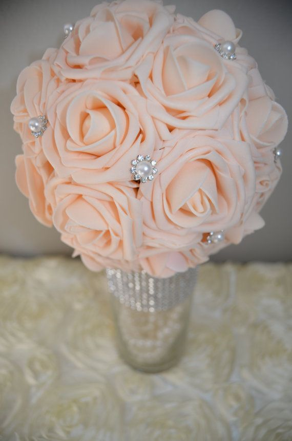 PEACH Blush Bling Pearl Elegant Wedding Hanging By KimeeKouture Diy Centerpieces