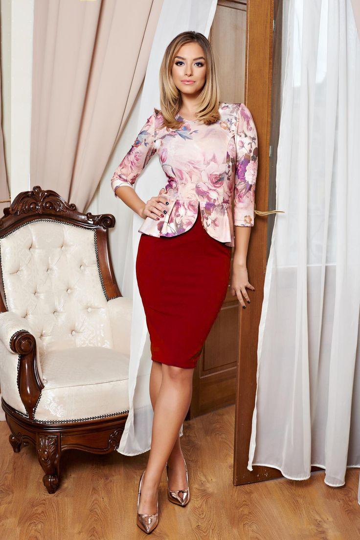Comanda online, Rochie StarShinerS Chic Attitude Burgundy. Articole masurate, calitate garantata!