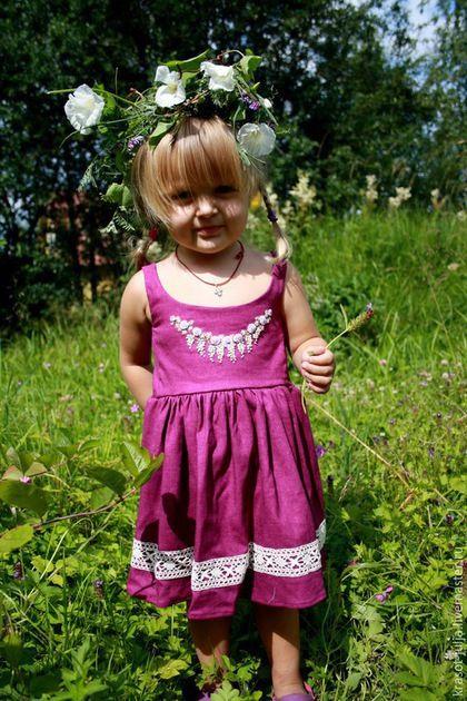 Одежда для девочек, ручной работы. Заказать Льняное платье с вышивкой рококо и кружевом. Юлия Кихтенко. Детские платья. Ярмарка…