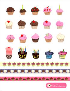 Free Printable Cupcake Stickers for Planner