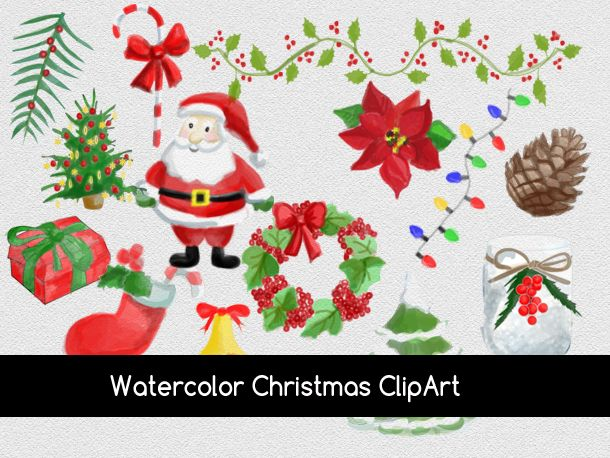 Free Watercolor Christmas Clipart And Elements Christmas