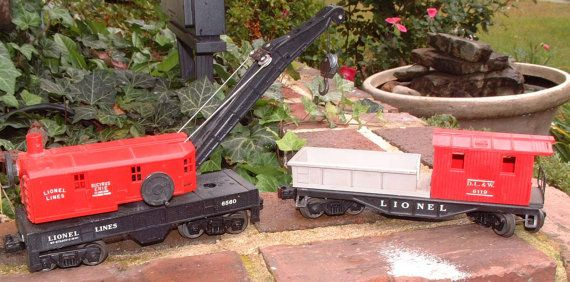 2 Vintage 1950 Lionel Trains Crane Cars 6560 and by MissingTrezures, $35.00 https://www.etsy.com/listing/112260818/2-vintage-1950-lionel-trains-crane-car