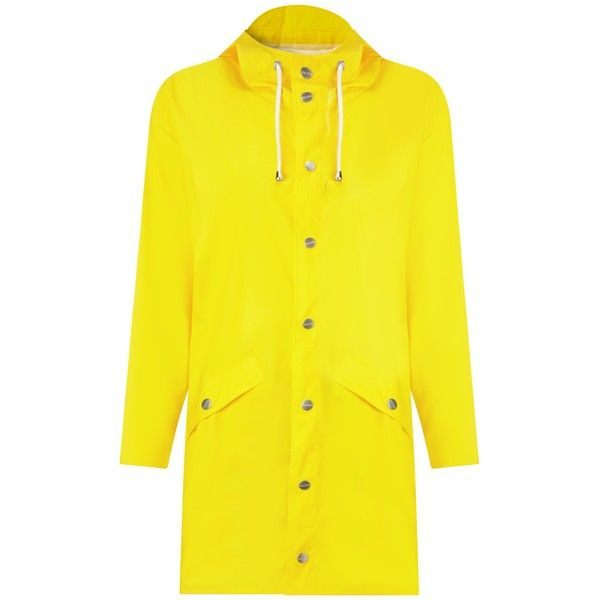 Rains Jacket , Yellow (155 AUD) ❤ liked on Polyvore featuring outerwear, jackets, yellow, waterproof jacket, rain jacket, rains jacket, lightweight rain jacket and collar jacket