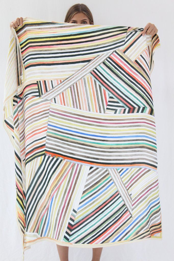 "Large luxurious scarf, 100% silk, in Painted Stripes print. 53"" by 53"" Wear around your neck or hang on a wall. Art is art. Exclusive to Beklina. Hui Hui is an independent German designer. Everything"