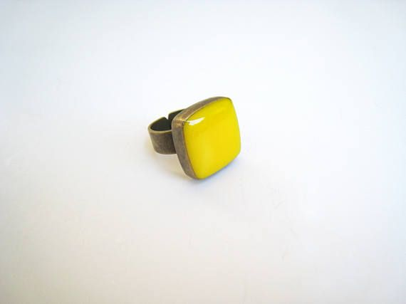 Yellow ring bronze yellow statement ring lemon citrine amber