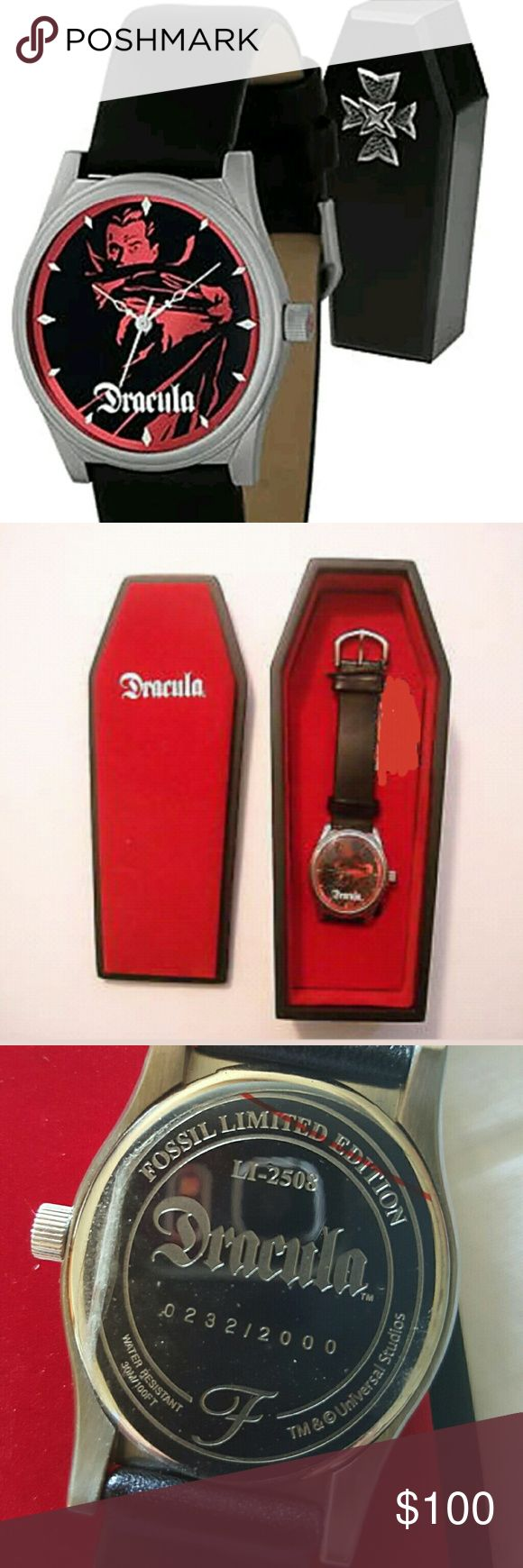 Antique Edition Dracula Fossil Watch Bela Lagosi (Dracula) on Face. Black leather genuine band. Antique collectors item. Fossil limited this watch to 2000 pieces only. Comes in a beautiful heavy black coffin lined w red velvet and cross on outside of coffin to keep watch in. I have seen this piece as high as $250.00 on E-Bay. Brand New Condition.  Never worn. Fossil Accessories Watches