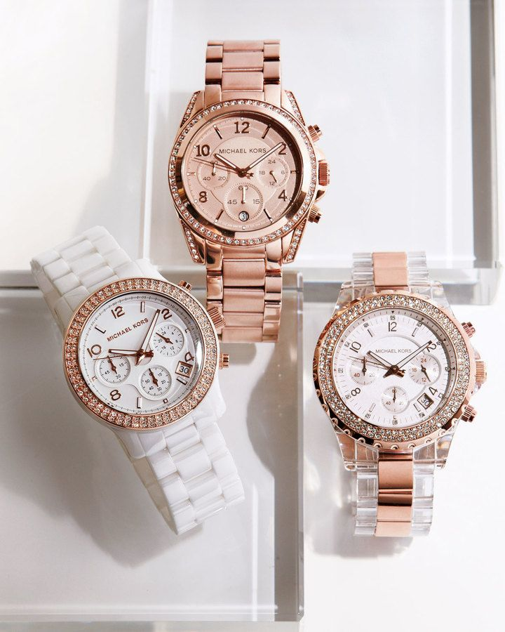 $275, MICHAEL Michael Kors Michl Michl Kors Glitz Chronograph Watch. Sold by Neiman Marcus. Click for more info: https://lookastic.com/women/shop_items/131724/redirect
