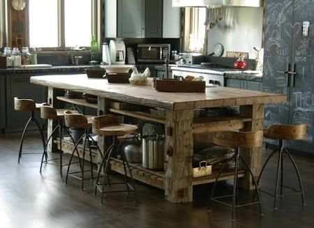 kitchen island bench recycled sleepers - Google Search