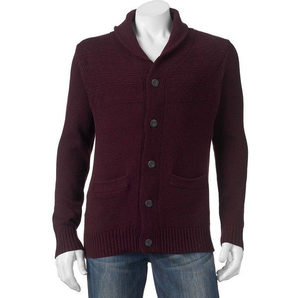 Men's SONOMA Goods for Life™ Shawl Cardigan Sweater ($40) ❤ liked on Polyvore featuring men's fashion, men's clothing, men's sweaters, dark red, mens sweaters, mens elbow patch sweater, mens shawl collar sweater, mens cardigan sweaters and mens shawl collar cardigan sweater